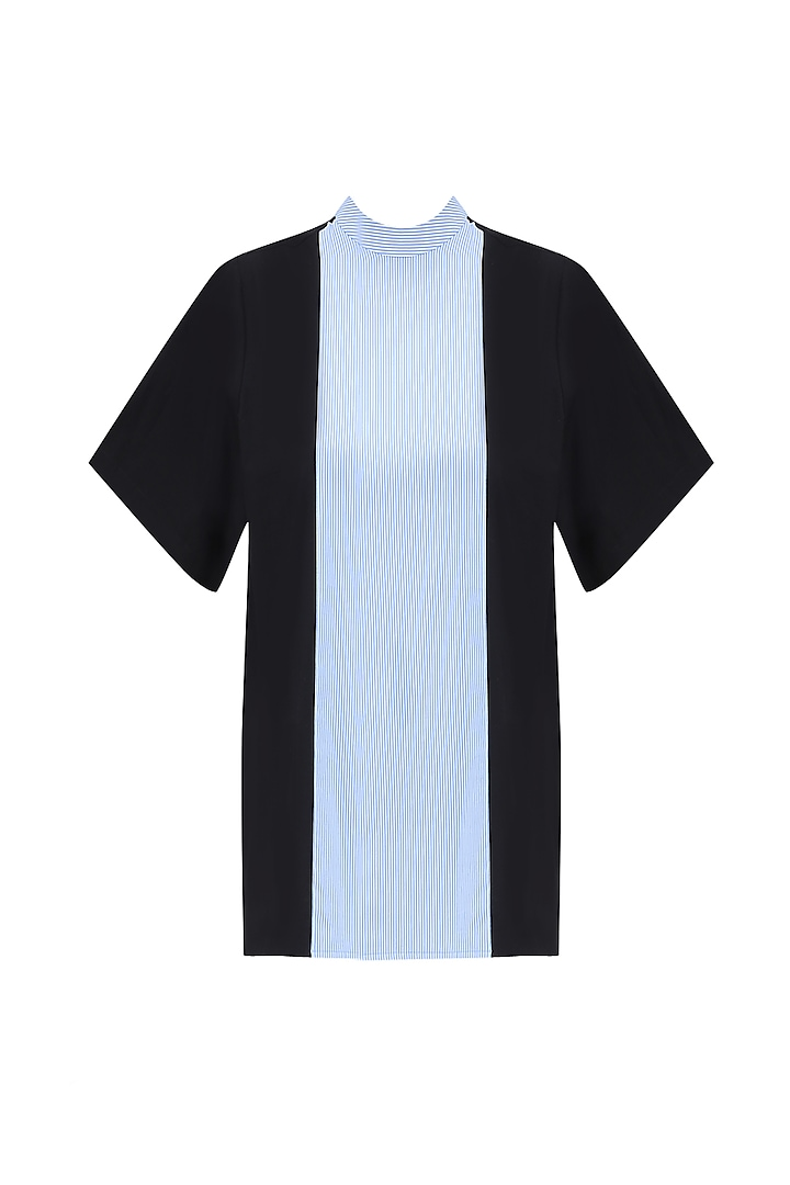 Blue and Black Panelled Top by Huemn Project