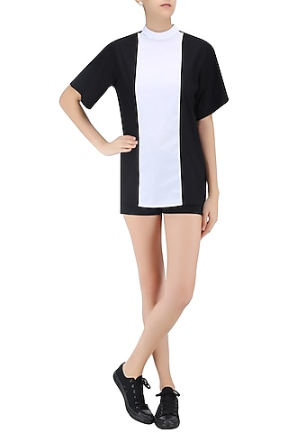 White and Black Panelled Top by Huemn Project