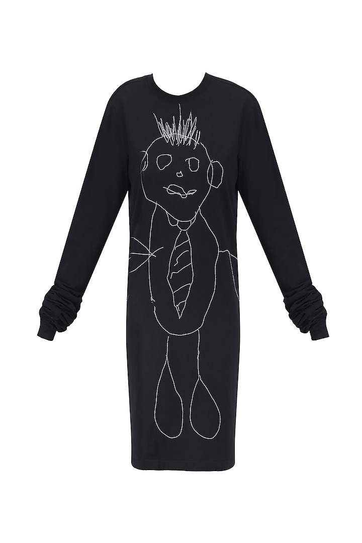 Black Boogeyman Doodle T Shirt Dress by Huemn Project