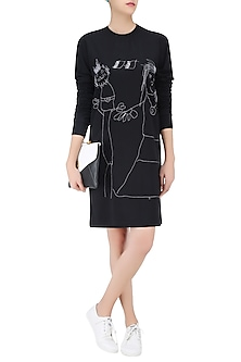 Black Designers Doodle T Shirt Dress by Huemn Project