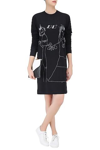 Black Designers Doodle T Shirt Dress by Huemn Project