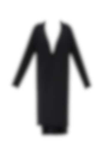 Black Oversized Neoprene Coat by Huemn Project