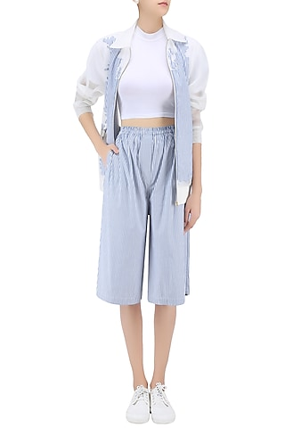 Blue Striped Culottes by Huemn Project