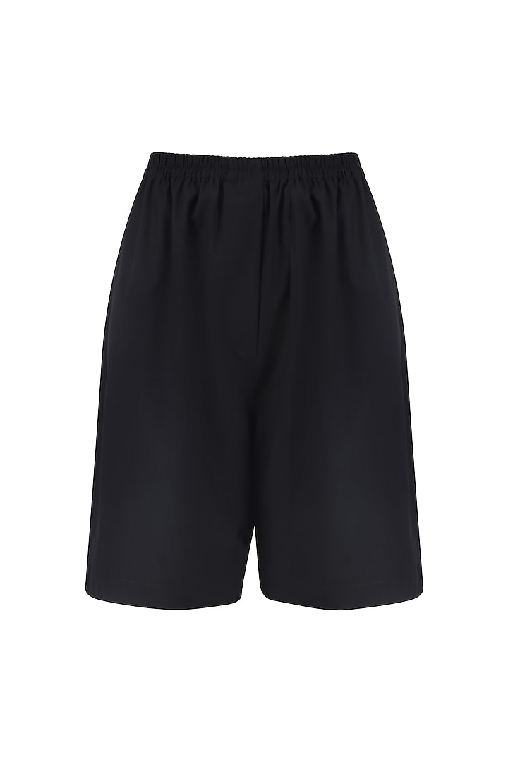 Black Elasticated Suiting Shorts by Huemn Project