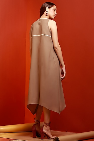 Beige Sleeveless Asymmetric Dress by House of Behram
