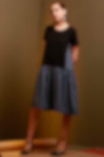 Greyish Blue & Black Drop Waist Dress by House of Behram