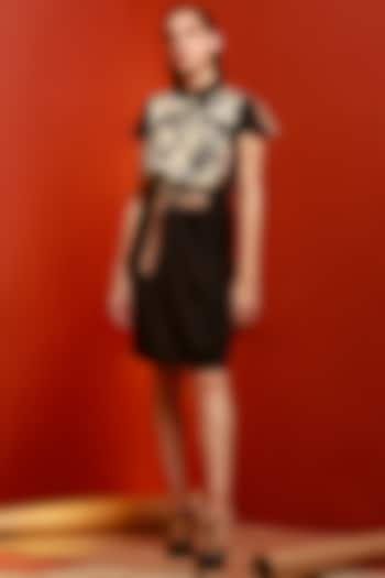 Black Printed Dress With Belt by House of Behram