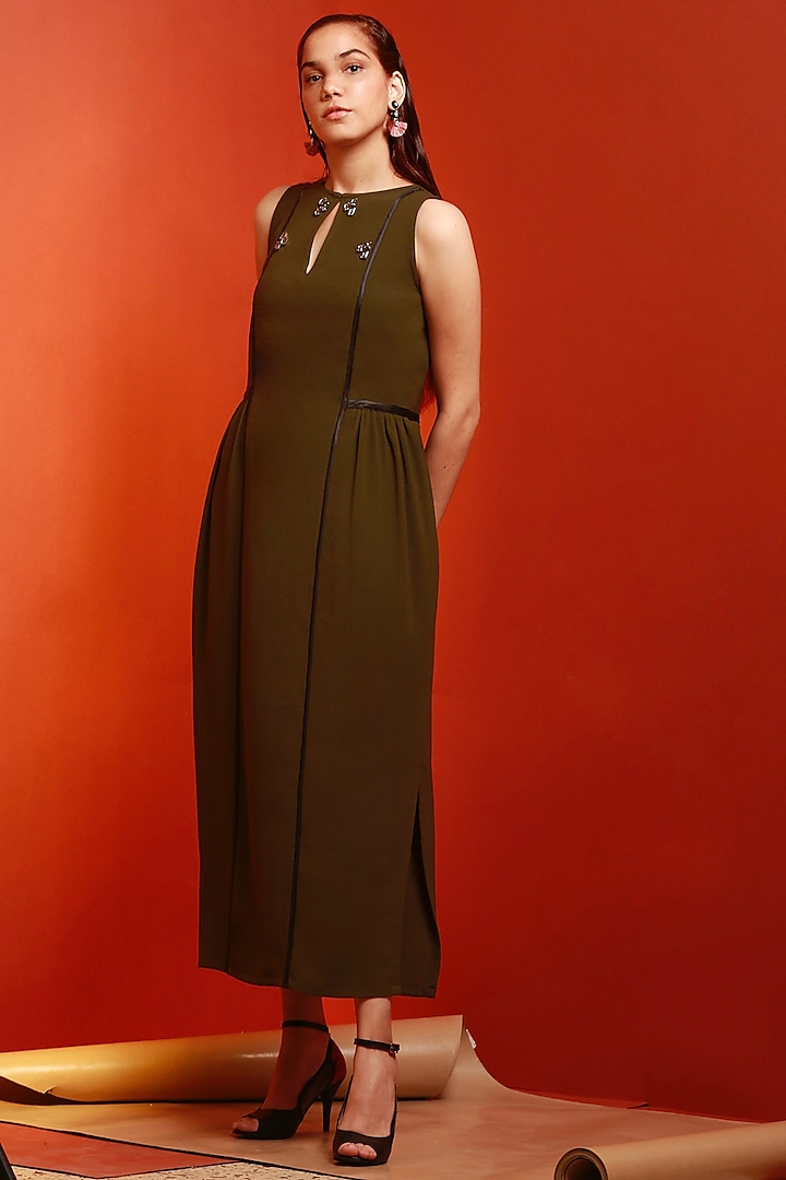 Olive Green Textured Gathered Dress by House of Behram