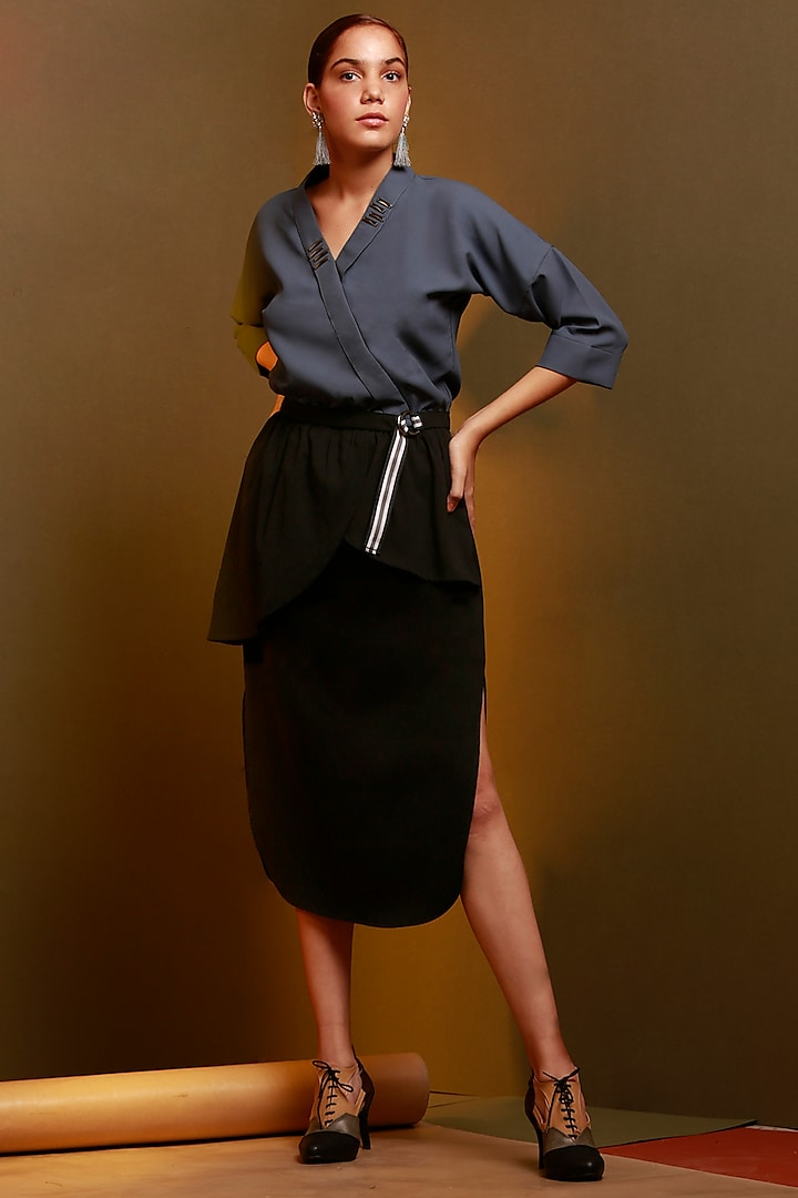 Greyish Blue & Black Overlapping Dress With Belt by House of Behram