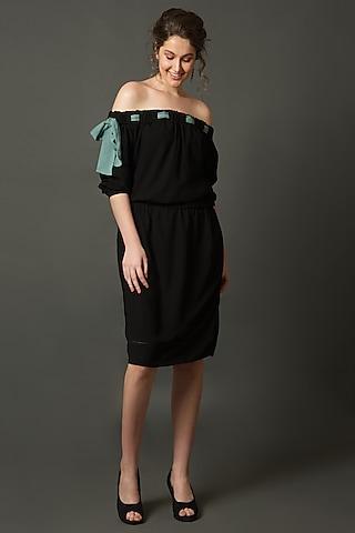 Black Off Shoulder Dress     by House of Behram