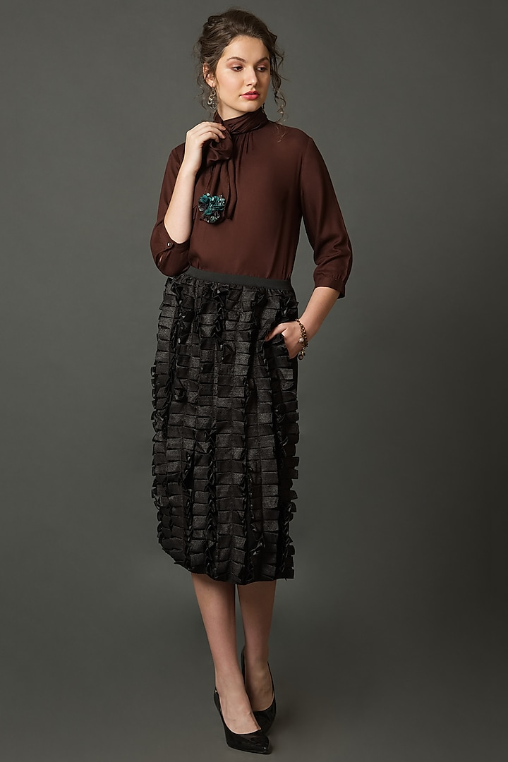 Black Metallic Skirt With Ruffles by House of Behram