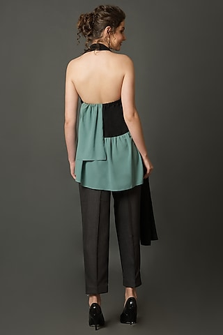 Black & Green Top With Tie-Up by House of Behram