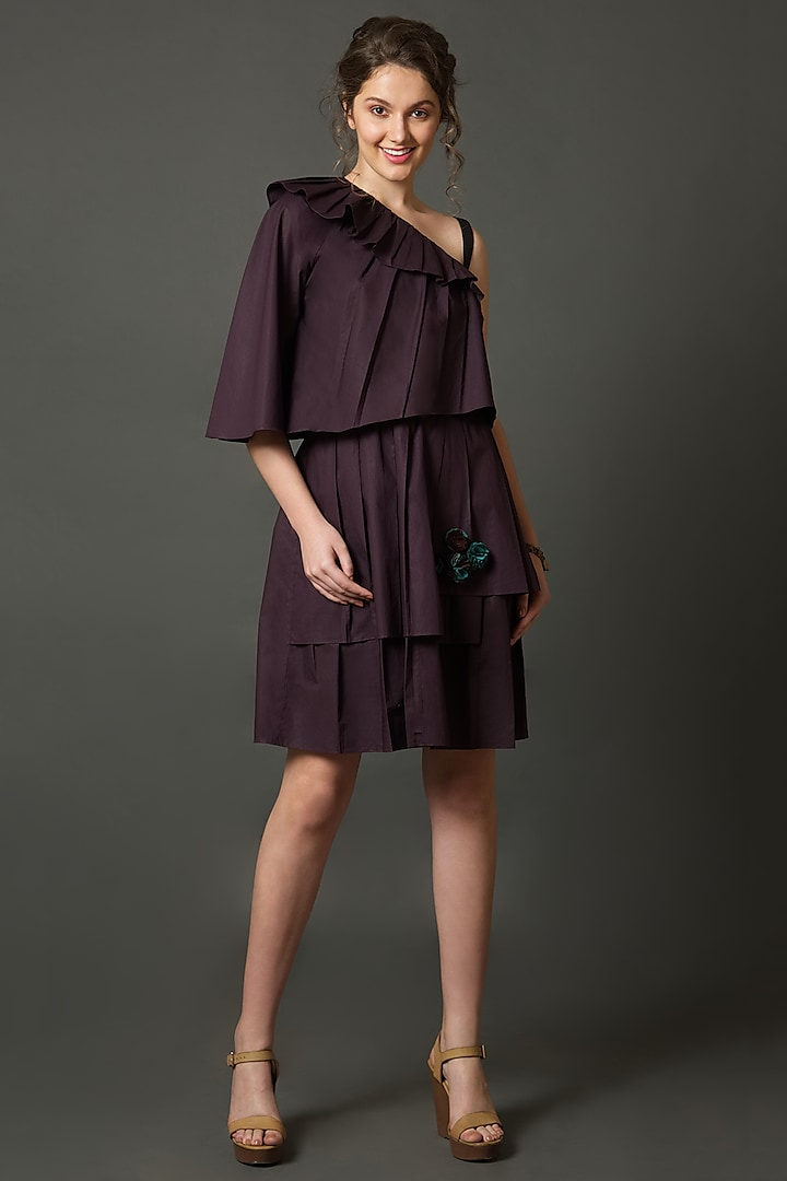 Wine Layered Dress With Asymmetric Neckline by House of Behram