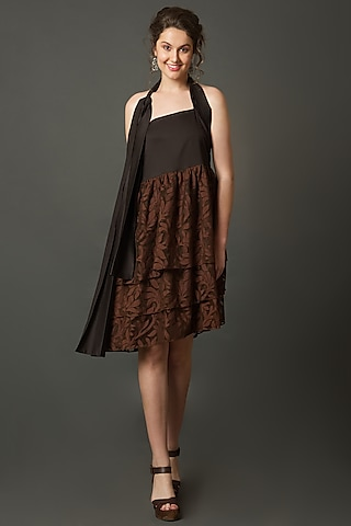 Chocolate Brown Layered Dress  by House of Behram