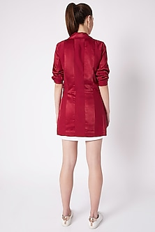 Red Collared Jacket With Dress by House of Behram