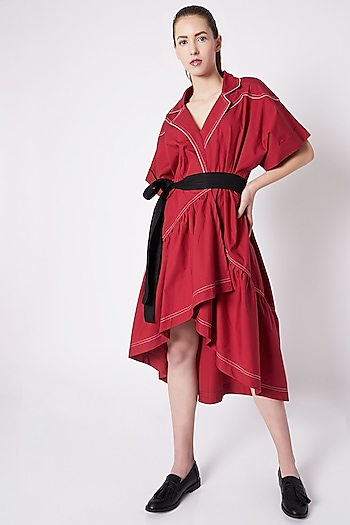 Red High-Low Cowboy Dress by House of Behram