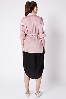 Powder Pink Asymmetric Shirt by House of Behram