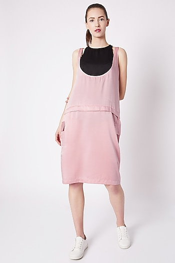 Powder Pink Dress With Flap Pockets by House of Behram