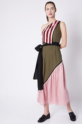 Olive Green Dress With Tie At Waist by House of Behram