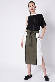 Olive Green Color Block Skirt by House of Behram
