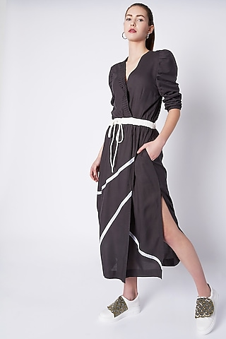 Grey Crunched Sleeves Dress by House of Behram