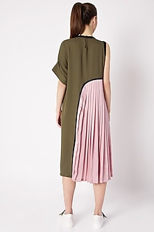 Olive Green Pleated Dress by House of Behram