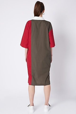 Olive Green Color Block Shirt Dress by House of Behram