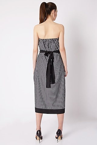 Grey & White Stripes Print Dress by House of Behram