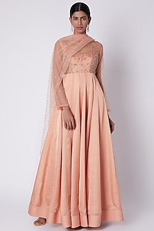Peach Embroidered Anarkali With Dupatta by House of Tushaom