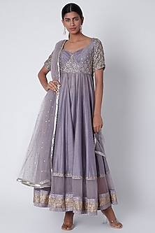 Heirloom Lilac Embroidered Anarkali Set by House of Tushaom