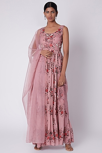 Ash Rose Printed Anarkali With Dupatta by House of Tushaom
