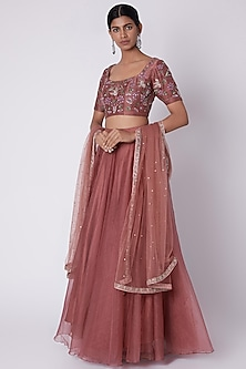 Mulberry Embroidered Short Lehenga Set by House of Tushaom