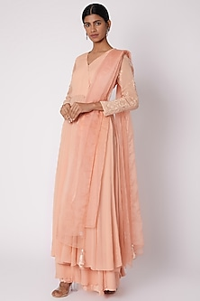 Peach Embroidered Wrap Tunic Set by House of Tushaom