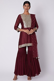 Maroon Embroidered Sharara Set by House of Tushaom