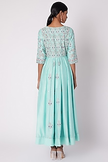 Aqua Blue Embroidered Anarkali Set by House of Tushaom