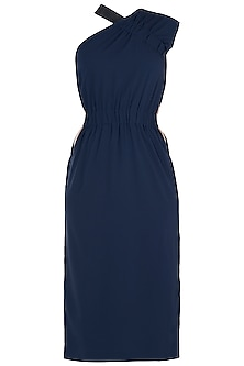 Navy blue asymmetric dress by House of Behram