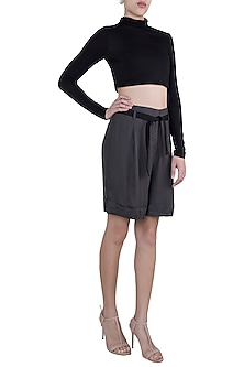 Grey pleated shorts by House of Behram