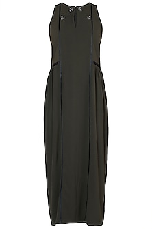 Olive green textured maxi dress by House of Behram