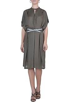 Grey pleated dress with belt by House of Behram