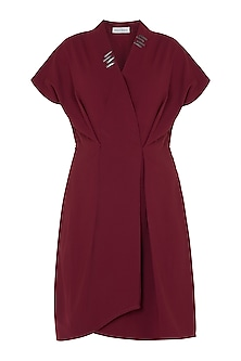 Oxy red embellished overlap dress by House of Behram