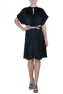Black pleated dress with belt by House of Behram