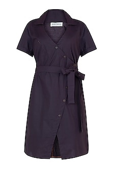 Deep plum overlap dress by House of Behram