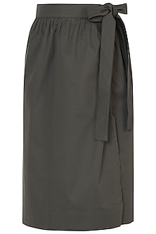 Olive green tie-up skirt by House of Behram