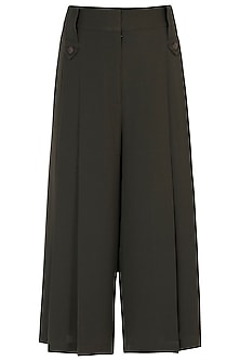 Olive green pleated trousers by House of Behram