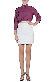 Pink cropped collar top by House of Behram