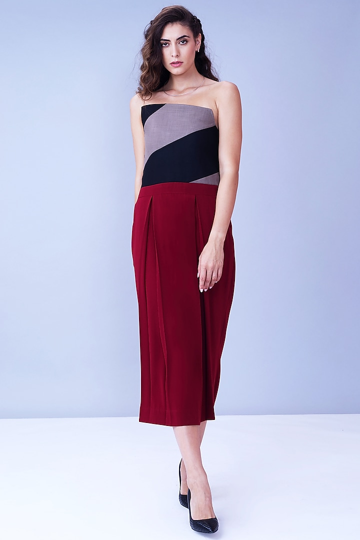 Oxy Red Pleated Dress by House of Behram