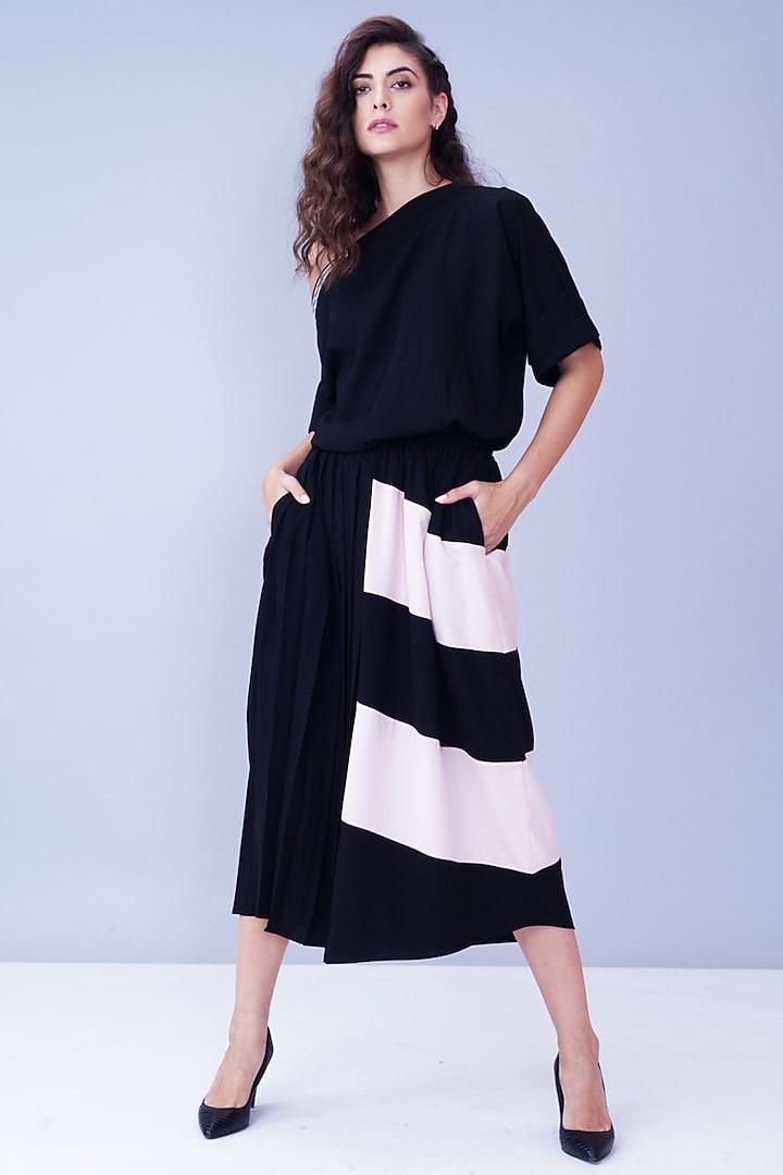Black & Powder Pink Off Shoulder Dress by House of Behram