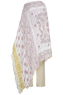 White Embroidered Tunic With Pants by House of Milk