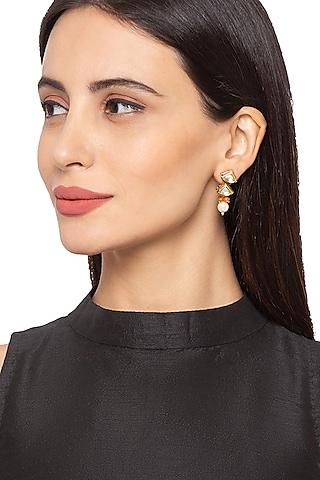 Gold Finish Earrings With Kundan by Hrisha Jewels