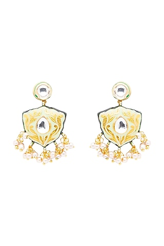 Gold Finish Polki Meenakari Earrings by Hrisha Jewels